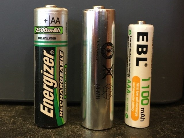 3 rechargeable batteries
