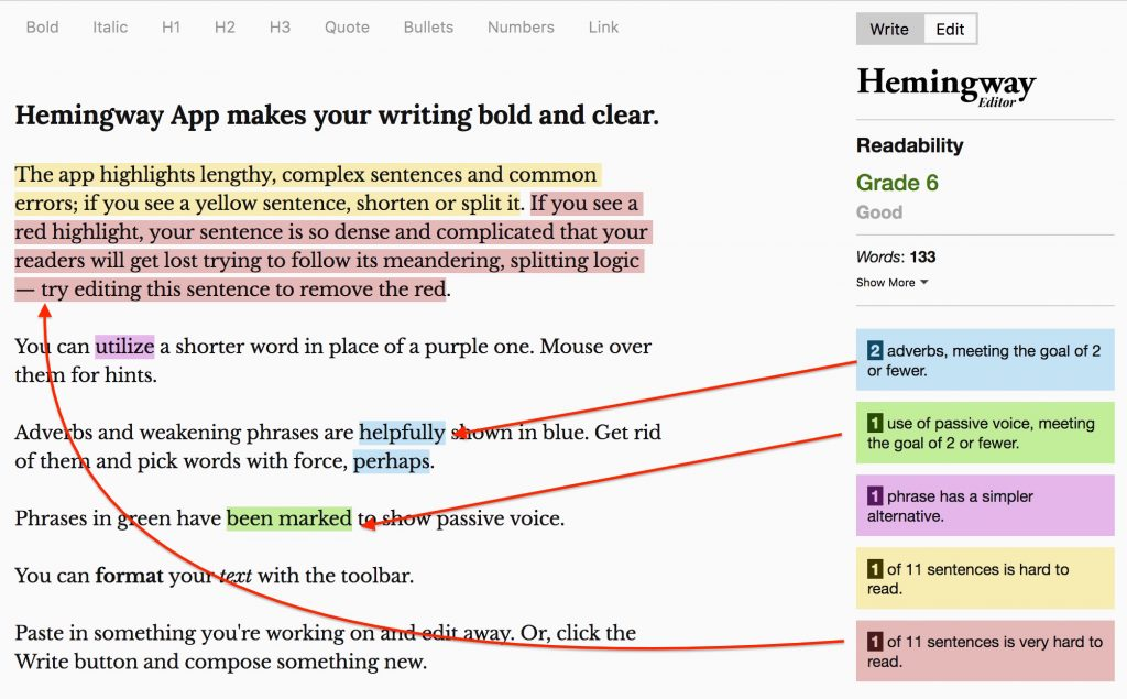 example showing how the hemmingway app can improve your writing