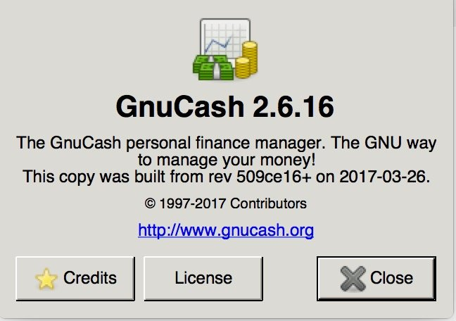 image showing about page for gnucash app for 2017