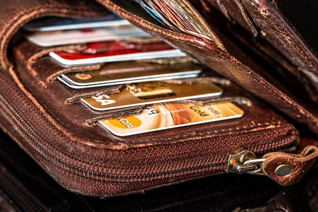 image of credit cards in a wallet smart spending habits