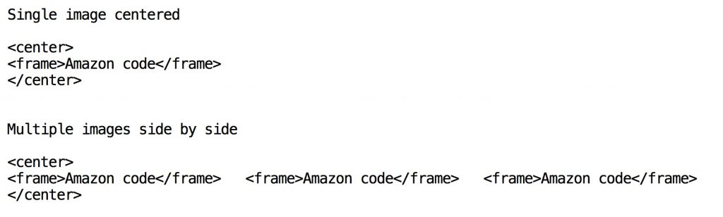screenshot showing how to center amazon images