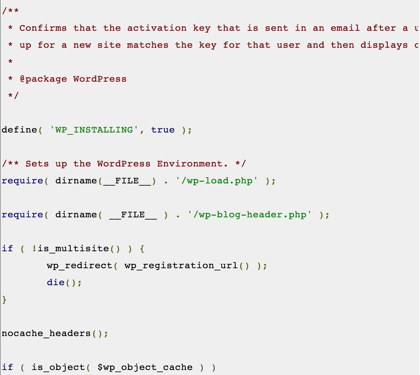code snippet in blog example